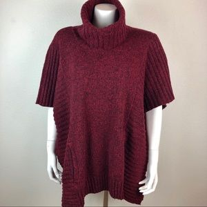 Athleta Passage Poncho Sweater Knit Wool Blend